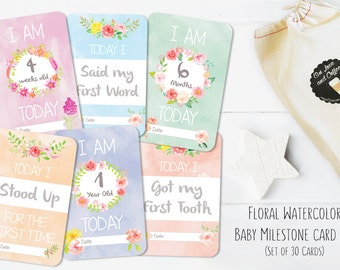 Baby Girl Watercolor Milestone Card Set // Baby's First Year // 30 pack