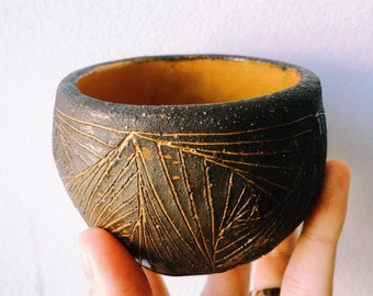 Black clay hanbuilt ceramic cups