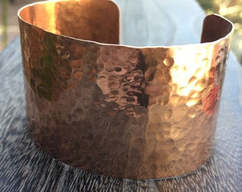 Hammered Copper Cuff Bracelet,  Choose your Width