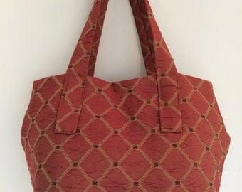 Stylish handcrafted crimson handbag - fabric purse - everyday bag - boho handbag