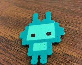 Blue Robot Perler Bead Art