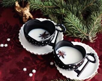 Fiancé Gift, Black Ceramic Mug, Black Coffee Mug, Polka Dot Pottery, Coffee Lover, Porcelain Houseware, Ceramic Pottery Decor