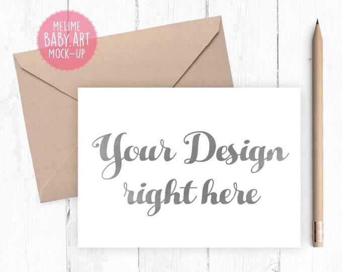 Card Mockup, Landscape Cards Mockup, 5x7 Card Mockup, Card and Kraft Envelope Mockup (5x7Card1.Basic)