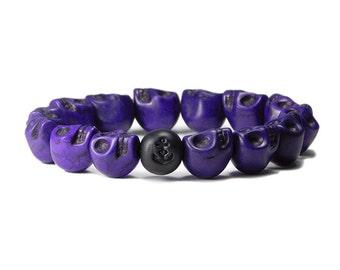 Skull Bracelet: Evil Indigo / Purple Skull Stretch Bracelet