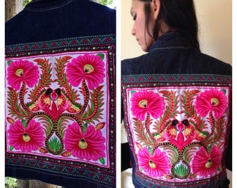 Upcycled embellished bohemian denim vest