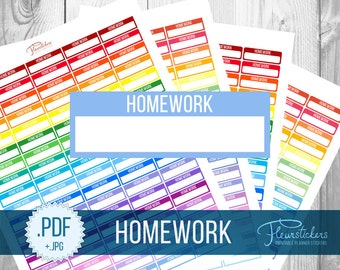 Printable Stickers Homework planner Sticker Study Stickers Printable planner stickers stickers Printable Stickers Homework stickers ECLP