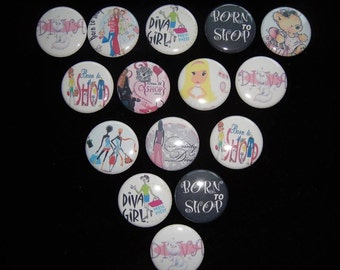 Shopping diva Buttons  Set of 15
