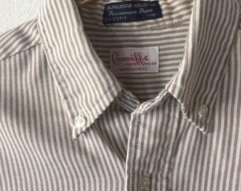 1980s Brown and White Stripe Oxford