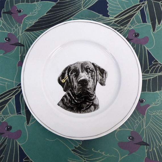 Hand painted porcelain collection plate  - Dog