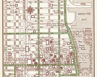 Miami Old Map, Miami Print, Miami Street Map, Miami Vintage Map, Miami Wall Art, Miami Wedding Gift, Miami Florida Map, Florida Map Decor