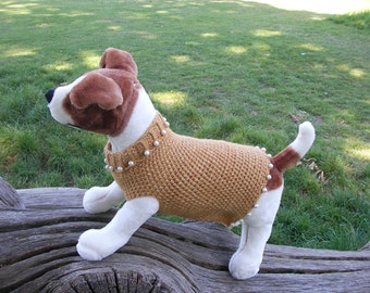 Dog's Jumper with beads and holes for front legs. Size M. Mustard