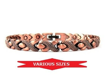 Magnetic Therapy Bracelet for Women, XOXO Copper Link Bracelet with Magnets #MCB-6149