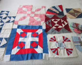 9 Assorted Quilt Blocks in  Fabrics from 1910-1975