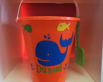 Sand pail with whales /sand Pail// whale beach Bucket/ Custom whale Beach Bucket