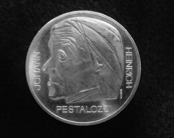 Official Swiss coin 5 Swiss Francs 1977 - Pestalozzi special edition Switzerland
