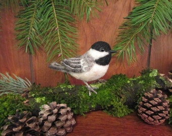 Needle Felted Bird, Black Capped Chickadee, Life Sized Posable Finch, MADE TO ORDER- Miniature Bird- Finch-Bird Decoration-Felted Animal