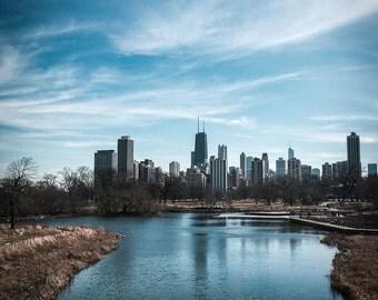 Chicago Skyline, Chicago Photography, Landscape Photography, Urban Art, Fine Art Photography, Chicago Skyline Over Lake Color