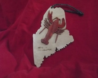 Maine State Handmade Lobster Ornament
