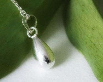 Dainty Sterling Silver Raindrop Pendant with Sterling Silver Necklace