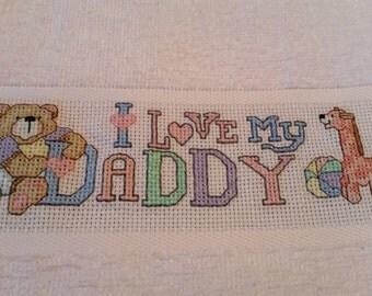 I Love My Daddy Bib–Counted Cross Stitch- Personalize it!!!