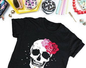 Sugar Skull Women's T-Shirt, Women's Streetwear T-shirt, Black Shirt, Funny T-Shirt, Edgy T-Shirt, Good Girls T-Shirt Tee
