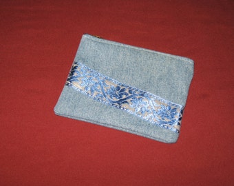 Washed denim zippered pouch/coin purse
