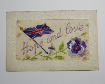 Embroidered WWI Edwardian Postcard