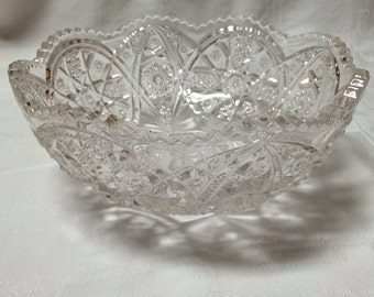 Large Antique Pressed Glass Bowl