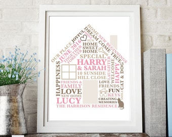 Printable File -  Housewarming gift | New House Word Art | Gift for Homeowners/ Moving Gift | Personalised House Print | Housewarming