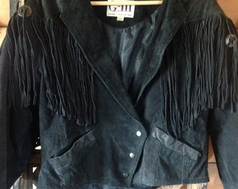 Vintage 80s Womens Leather Suede Fringe Biker Jacket Cropped Concho