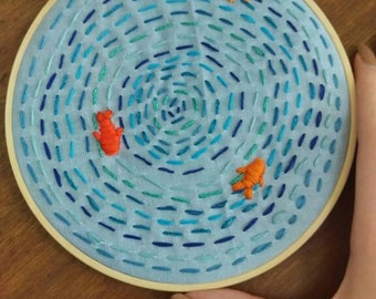 6 inch embroidery hoop. Fish embroidery. Nature embroidery.