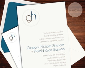 Modern Monogram Invitation - Custom Handmade Wedding Invitation Suite by June & Ross Paper - Deposit to get started