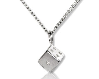 Sterling Silver cube Pendant with Chain