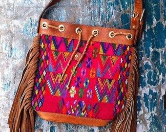 SALE! Handmade Leather Fringe Bag 》leather bag 》embroidery bag 》fringe bag 》leather handbag 》bohemian bag》