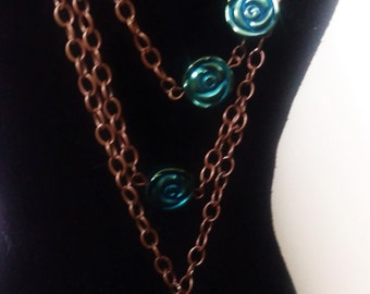 Blue Rose Tiered Necklace