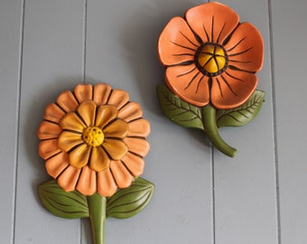 Vintage Ceramic Wall Flowers (pair)