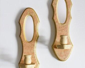 Pair of Vintage Mirrored Pink Candleholders