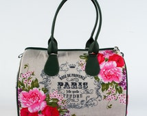 Paris Fabric Bag, Floral Printed Purse, Top Handle Satchel, Unique Bright Handbags, French Bags, Designer Fashion Purse for Women, 5053