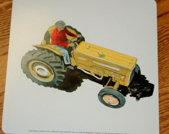 Vintage Double-Sided Large Flash Card - 1960's  -Yellow Tractor - Farm Theme - Transportation - Retro Decor