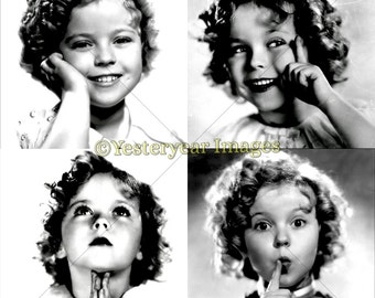 Vintage SHIRLEY TEMPLE Photos - Digital Images Collage Sheets - Instant Download - 3 PNG Files 4x4 - 2x2 - 1x1