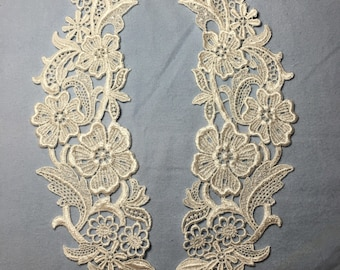 Vintage Ivory Rayon/Venise Lace applique set-Sew on for crafts, garments decor projects