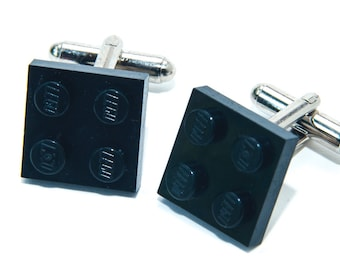 Black Lego Plate Cufflinks Wedding Cuff Link Gift Birthday With Gift Bag