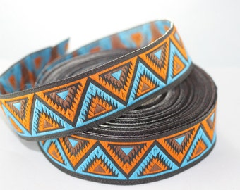 16 mm Blue/Orange Chevron Jacquard ribbon (0.62 inches) -Decorative Craft Ribbon - Sewing - Jacquard trim - Trim