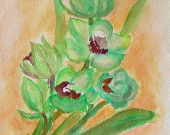 Rare Guest watercolor painting by Miao Yeh, 17x14, floral, portion of proceed supports Parkinson's research.