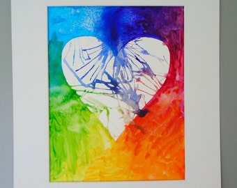 Rainbow Heart Watercolor