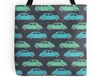 Classic Car Tote Bag - Deluxe Tote Bag - Vintage Handbag - Cute Tote Bag - Fun Tote Bag - Vintage Tote Bag - Cute Handbag - Grocery Bag