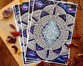 Flower Of Life Mandala Wall Art Spiritual Sacred Geometry Universe