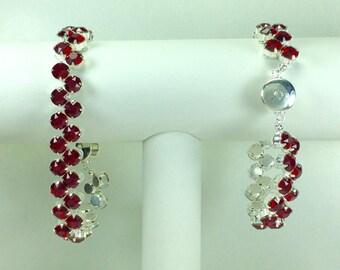 Dark Red Redbud Bracelet - Swarovski Crystals, Magnetic Clasp, Silver Plate
