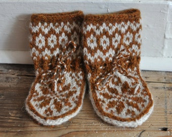 Elwin Baby Slipper Socks 3-6 months Burnt Umber & Ivory