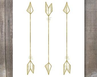 Printable Wall Art, 3 Gold Arrows #4, Tribal Arrow Print, Size 8x10